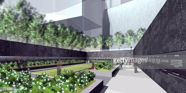 This artist's rendering shows Dual Memory by Brian Strawn and Karla Sierralta one of the eight finalists for a World Trade Center memorial released...