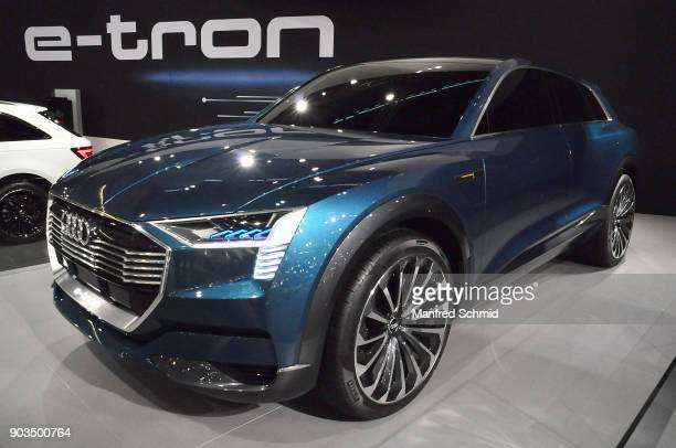 This Audi etron is displayed during the Vienna Autoshow as part of Vienna Holiday Fair on January 10 2018 in Vienna Austria The Vienna Autoshow will...