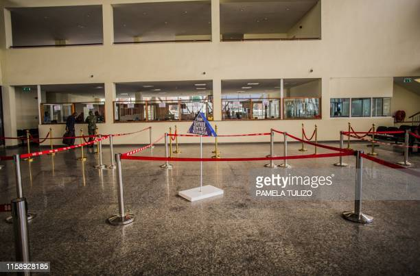 This August 1, 2019 image shows the deserted offices of the immigration at the border between the Democratic Republic of Congo and Rwanda in Goma. -...