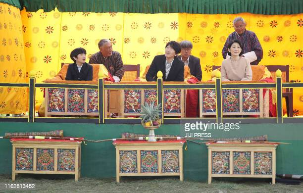 This August 19, 2019 picture shows Japan's Crown Prince Akishino , Crown Princess Kiko and their 12-year-old son, Prince Hisahito , visiting the...