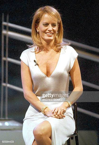 This August 1999 file photo shows former Miss Universe 1986 Cecilia Bolocco of Chile during the taping of her television program in Santiago 'La...
