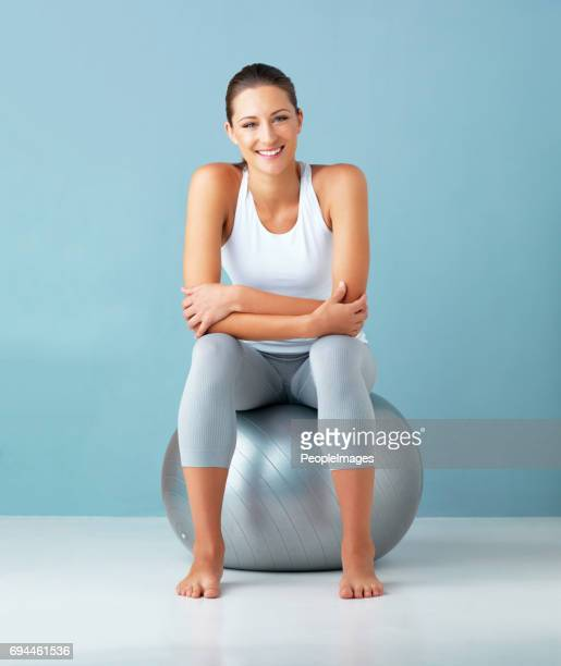 this ball is my health secret - fitness ball stock pictures, royalty-free photos & images