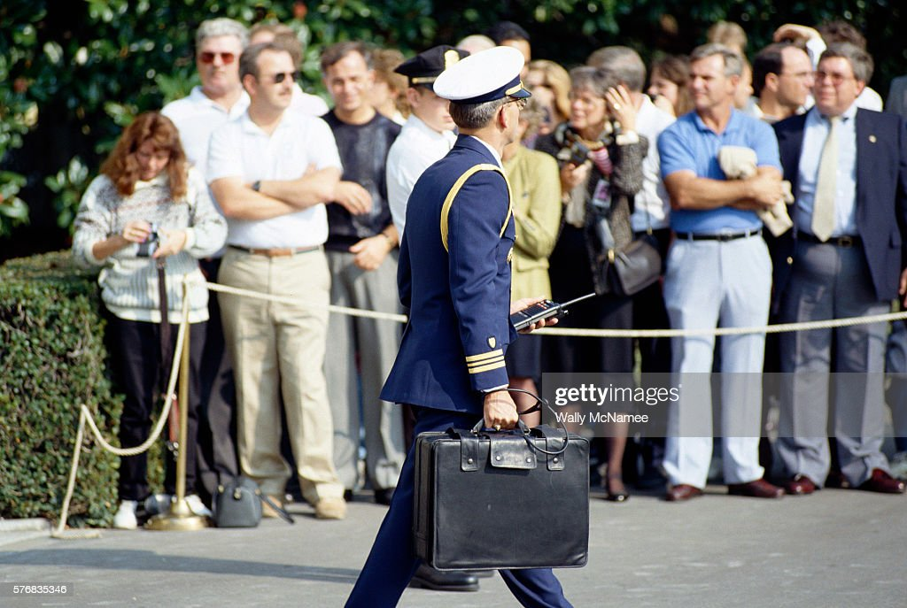 This black briefcase follows the president when he travels, and carries the necessary codes to activate a nuclear attack in an emergency.