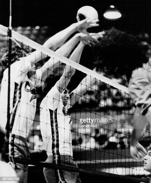 This Block Failed But Comets Broke Breakers Anyway Denver's Larry Benecke and Jon Stanley missed in the first game of the Comets 31 International...