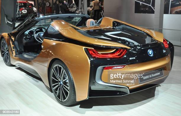 This BMW i8 Roadster is displayed during the Vienna Autoshow as part of Vienna Holiday Fair on January 10 2018 in Vienna Austria The Vienna Autoshow...