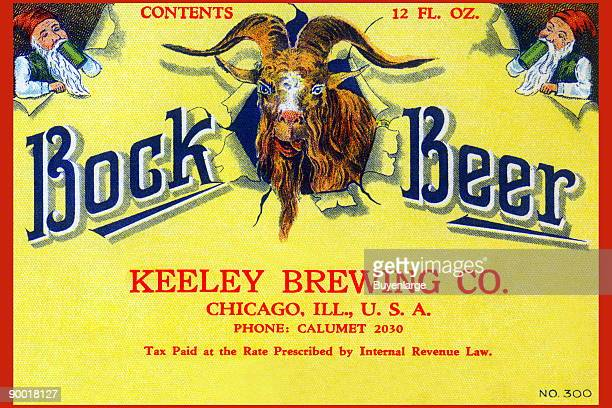 This Bock Beer was brewed by the Keeley Brewing Company in Chicago Illinois This original beer label featured two gnomes drinking from steins and a...