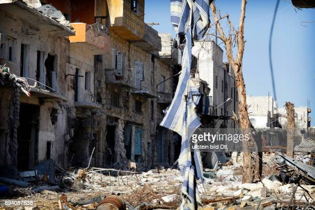 This bombed district of Karm alJabal in the north of Aleppo is the frontline between the Free Syrian Army and the army of Assad