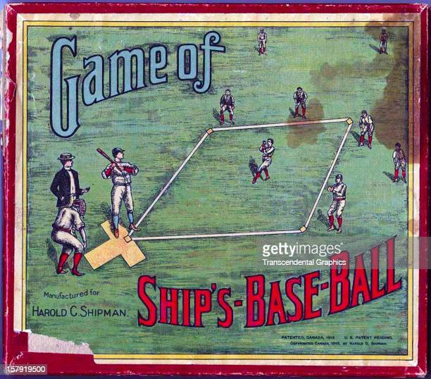 This box top for an early board and dice baseball game called 'The Game of Ship's Base Ball' was issued in 1912 in Toronto Ontario Canada