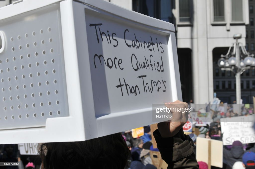 This Cabinet is More Qualified than Trumps reads the drawer carried by Gabrielle Piccari Luongno, of Bucks Co. PA, at a protest of the Donald Trump Presidency, in Philadelphia, PA, on February 4th, 2017.