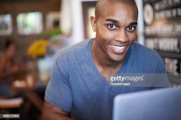 this cafe has free wifi - most handsome black men stock photos and pictures