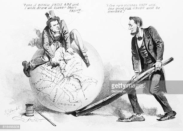 This cartoon shows Andrew Johnson mending the globe while Abraham Lincoln raising it with a railroad tie