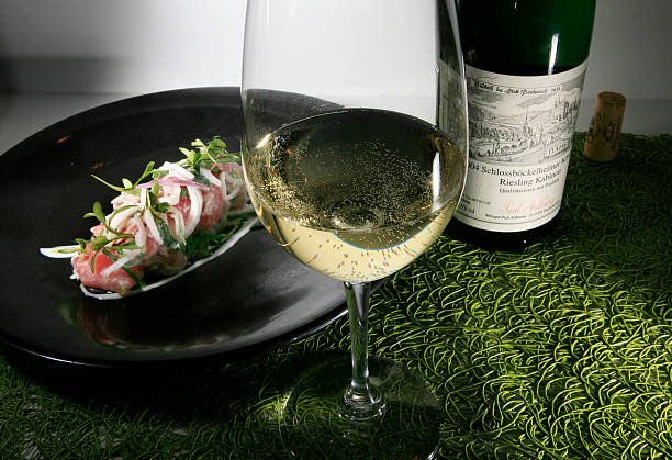 This ceviche plate is served with a white wine, Schlossb+ªckelheimer Konigsfels Riesling Kabinett, at the De La Costa restaurant in Chicago,...
