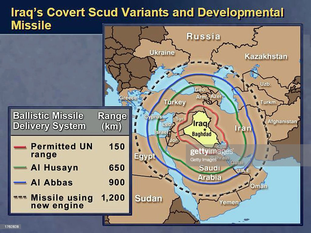 This chart showing, according to the U.S. State Department, the missile range of covert Iraqi SCUD missiles, as well as the range of a new experimental unmanned aerial missile (UAV) that could carry chemical and biological weapons, was released by the U.S. Department of State February 5, 2003 at the United Nations Security Council in New York City. U.S. Secretary of State Colin Powell presented this chart as part of a report to the United Nations Security Council as evidence that Iraq is hiding material from U.N. weapons inspectors.