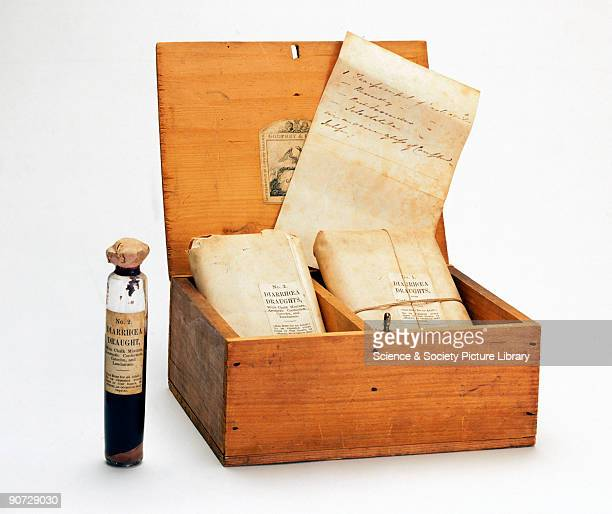 This chest contains medicines for the treatment of cholera an infectious gastrointestinal disease It includes opium draughts to relieve pain and...