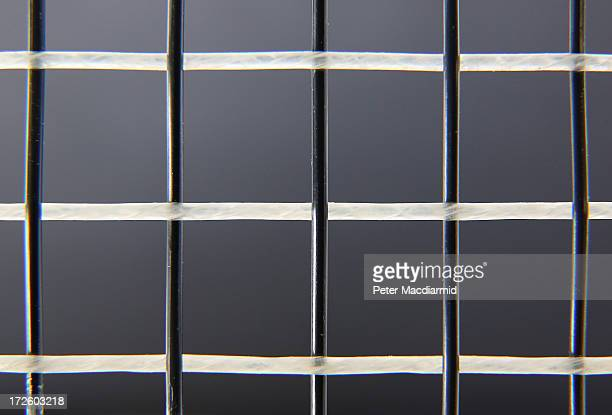 This close up photograph shows horizontal gut strings woven together with man made strings on a tennis racket at the Wimbledon Lawn Tennis...