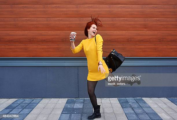 this coffee makes me crazy - yellow dress stock pictures, royalty-free photos & images