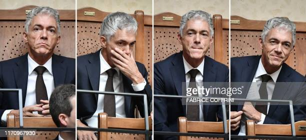 This combinaison of four pictures shows Michael Lauber's attitudes before and after his reelection as Switzerland's attorney general by the Swiss...