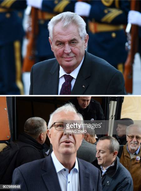 This combination created on January 9 2018 of file pictures shows Czech President Milos Zeman and former Czech Science Academy head and independant...