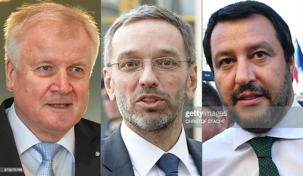 This combination created on June 13, 2018 of file pictures shows Germany's Interior Minister Horst Seehofer (L, March 13, 2018 in Munich, still as Bavarian State Premier), Austrian Interior Minister Herbert Kickl (April 12, 2018 in Vienna) and Italys Interior Minister and deputy Prime Minister Matteo Salvini (June 1, 2018 in Rome). - The hardline interior ministers of Austria, Germany and Italy have formed an 'axis of the willing' to combat illegal immigration, Austrian Chancellor Sebastian Kurz said on June 13, 2018, escalating a Europe-wide row over the issue. (Photos by various sources / AFP) / Austria OUT