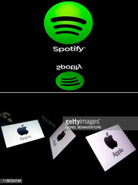 This combination created on March 13 2019 of file illustrations displayed on tablet screens shows the logo of the US multinational technology company...