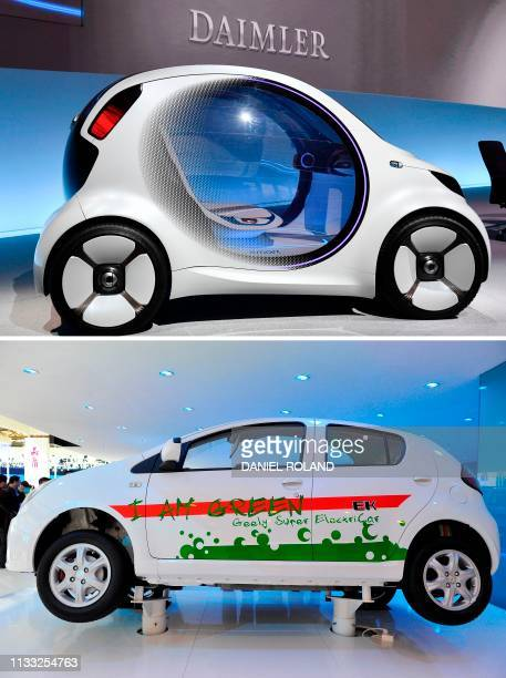 This combination created on March 28 2019 of file pictures shows a smart vision EQ fortwo concept car of German Daimler AG and an electric car...
