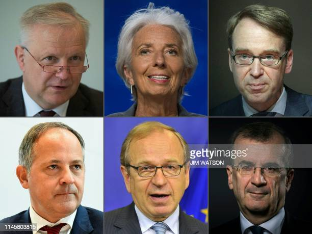 This combination created on May 23, 2019 of file pictures shows the Governor of the Bank of Finland Olli Rehn , the International Monetary Fund...