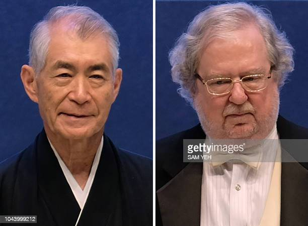 This combination created on October 1 2018 of a file picture taken on September 18 2014 in Taipeh shows Tasuku Honjo of Japan and James P Allison of...