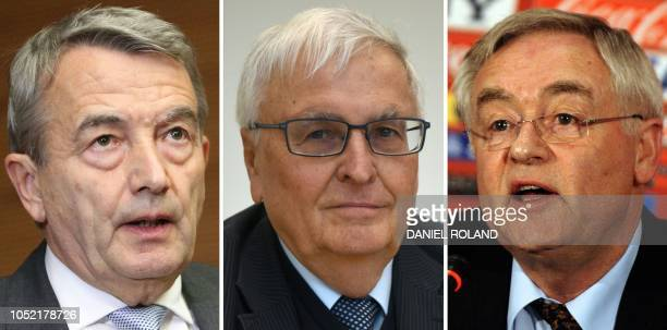 This combination created on October 15 2018 of file pictures shows Wolfgang Niersbach then President of the German Football Federation as he gives a...