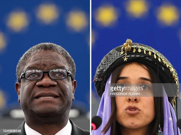 This combination created on October 5 2018 of file pictures shows Congolese gynaecologist Denis Mukwege and Nadia Murad public advocate for the...
