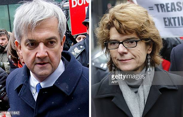 This combination image composed of pictures taken in London on March 11 2013 shows Britain's former energy minister Chris Huhne and his exwife Vicky...