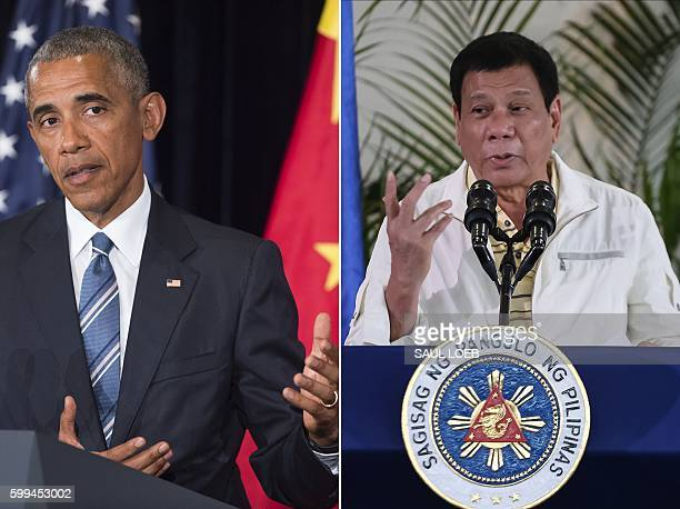 This combination image of two photographs taken on September 5 2016 shows at left US President Barack Obama speaking during a press conference...