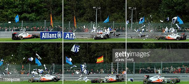 This combination images shows from L to R and TOP to BOTTOM McLaren Mercedes' British driver Lewis Hamilton crashing at the SpaFrancorchamps circuit...