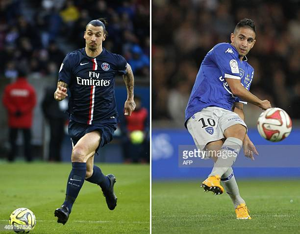 This combination made on April 10 2015 shows a files picture of Paris SaintGermain's Swedish forward Zlatan Ibrahimovic taken at the Parc des Princes...