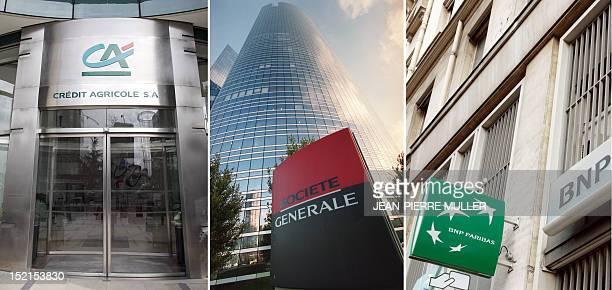 This combination made on September 12 2011 shows logos of the French banks Credit Agricole taken in 2005 Societe Generale taken in 2002 and BNP...