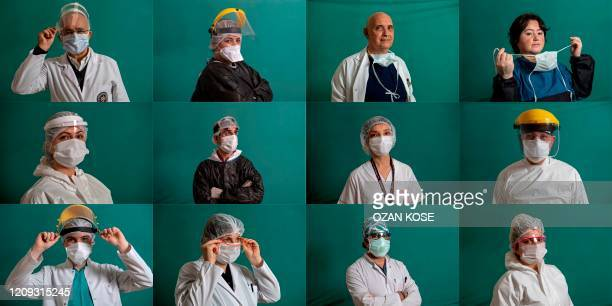This combination of 12 pictures created on April 6, 2020 shows medical staffers on the frontline treating patients of the COVID-19 pandemic: Sait...