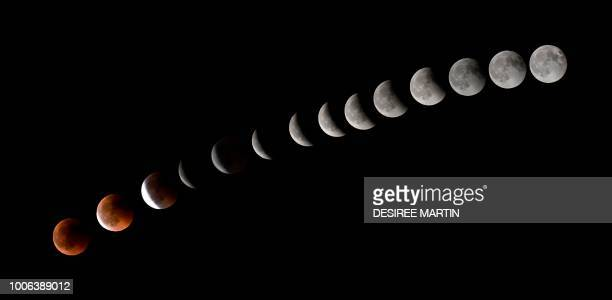 TOPSHOT This combination of 14 pictures put together in photoshop and taken on July 272018 shows the moon during a total lunar eclipse near to La...