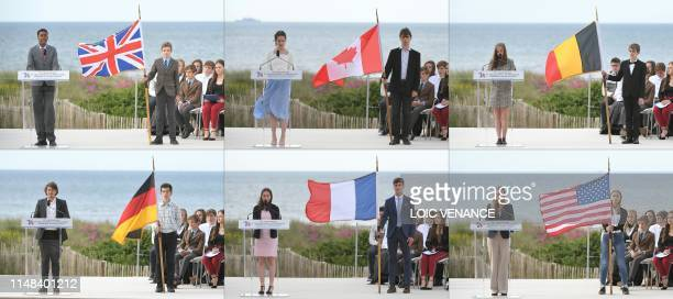 This combination of 6 pictures created on June 6, 2019 shows an English teenager, a Canadian teenager, a Belgian teenager, a German teenager, a...