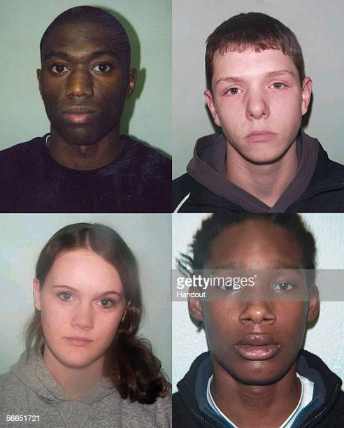 This combination of arrest photos handed out by the Metropolitan Police shows Reece Sargent Darren Case David Blenman and Chelsea O'Mahoney four...