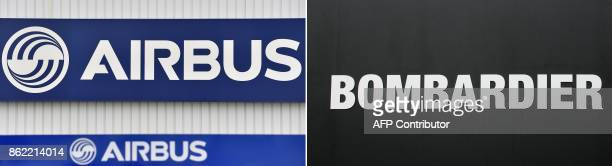 This combination of file images created on October 17 shows the logo of the civil aircraft manufacturing company Airbus at the entrance of the Airbus...
