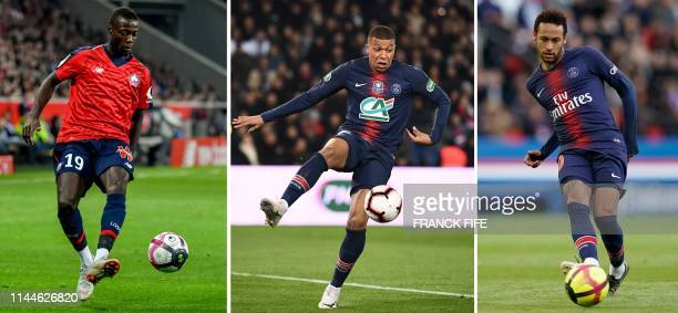 This combination of file photographs created in Paris on May 18 shows Lille's Ivorian forward Nicolas Pepe controling the ball during the French L1...