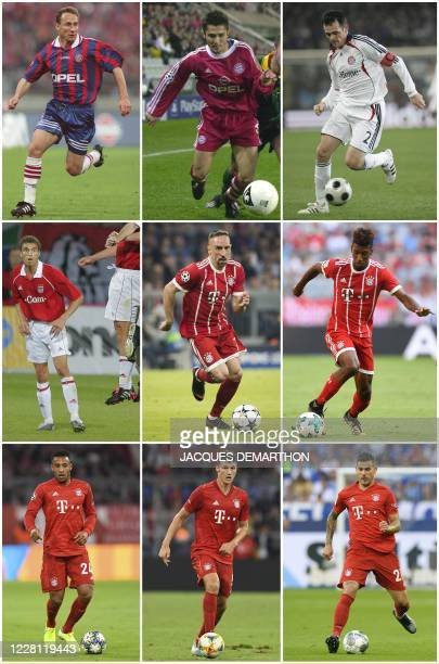 This combination of file photographs created on August 20 shows Bayern Munich's French players: Jean-Pierre Papin during the first round final of the...