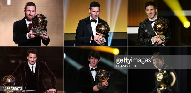 TOPSHOT This combination of file photographs created on December 3 shows Barcelona's Argentinian forward Lionel Messi reacting as he receives the...