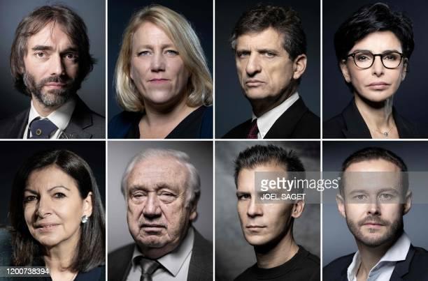 This combination of file photographs created on February 14 shows Paris city hall candidates Cedric Villani of Le Nouveau Paris electoral list on...