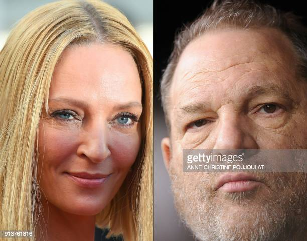 This combination of file photos created on February 3 2018 shows US actress and President of the Un Certain Regard jury Uma Thurman arriving on May...