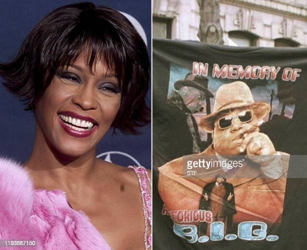This combination of file photos created on January 15 2020 shows Pop diva Whitney Houston at the 42nd Annual Grammy Awards at the Staples Center in...