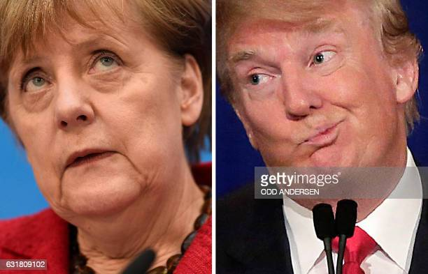 This combination of file photos created on January 16, 2017 shows then Republican US presidential candidate Donald Trump and German Chancellor Angela...