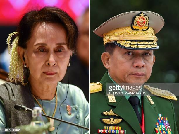This combination of file photos created on November 14 shows Myanmar State Counsellor Aung San Suu Kyi attending the 35th Association of Southeast...