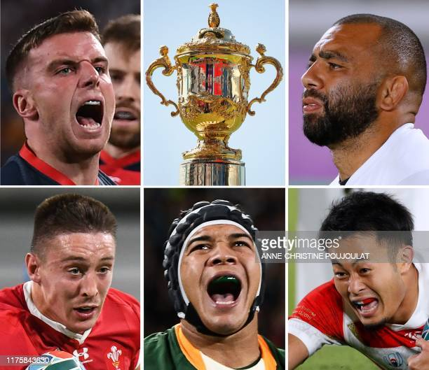 TOPSHOT This combination of file photos created on October 14 2019 shows England's flyhalf George Ford celebrating his try during the Japan 2019...