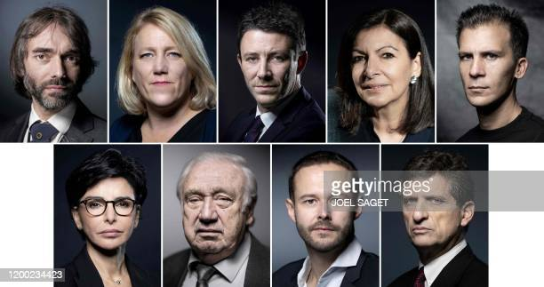 This combination of file photos made on February 12 shows Paris city hall candidates Cedric Villani of Le Nouveau Paris electoral list on June 12...