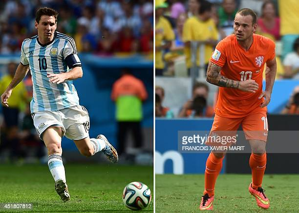 This combination of file photos made on July 7 2014 shows Argentina's forward Lionel Messi controlling the ball during the second half of a...